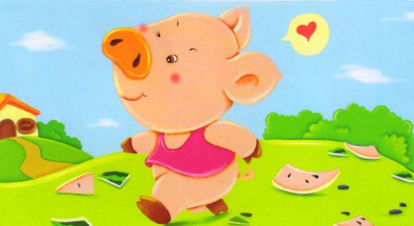 可爱小猪头像带字